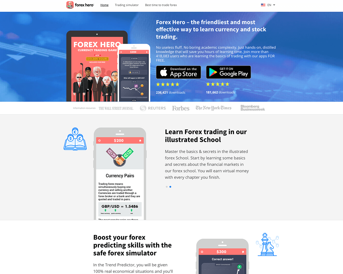 Forex Hero: Mobile apps for learning economics, currency and