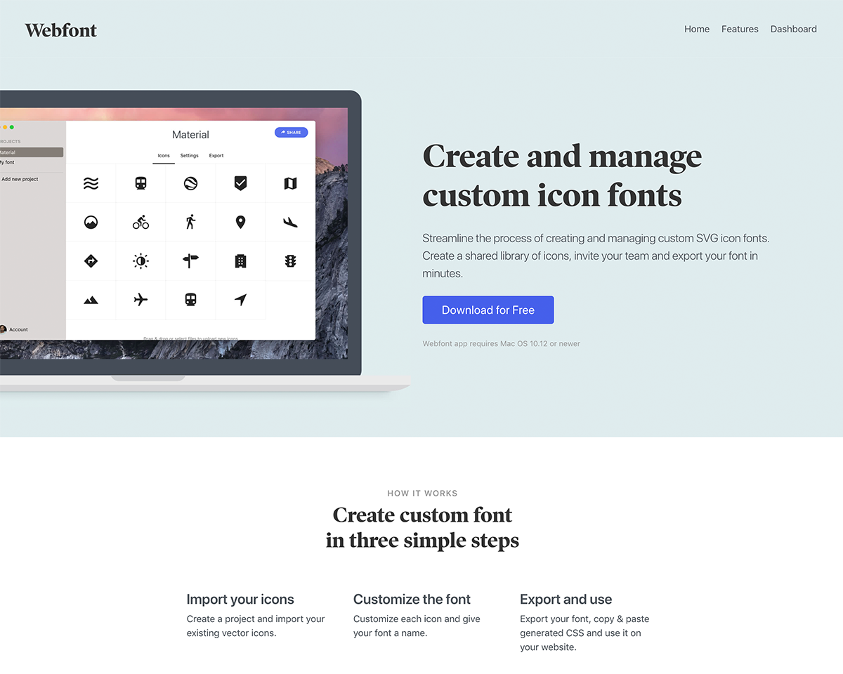 Webfont: Create and easily manage custom icon fonts
